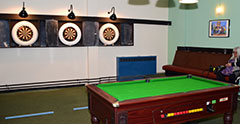 Sports Room; Pool Table, Darts, and Snooker Tables